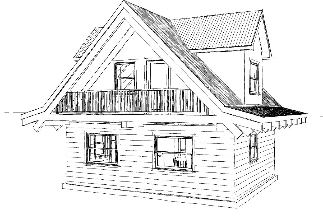 Floor plan 24x20 sqft cottage b for Sketch house plans