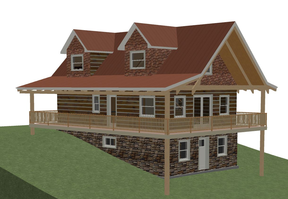 Log home floor plan 24 39 x36 39 864 square feet plus loft for Daylight basement pictures