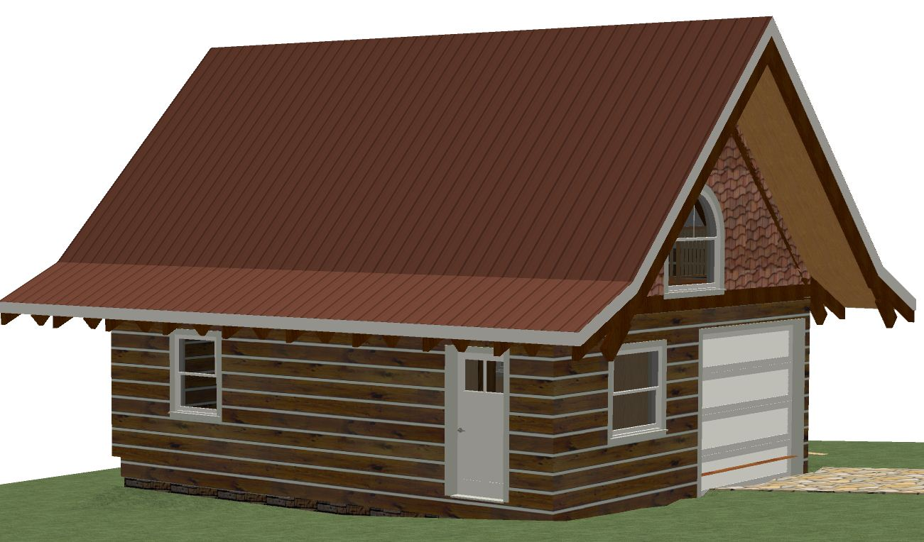 Log garage studio kit 24 39 x28 39 672 sqft for Garage building kits canada