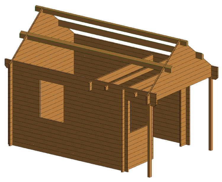 Bunkie prefab log cabin kit 150 sqft Log garage kits with loft