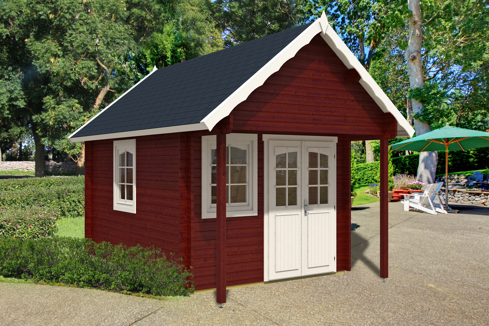 Bunkie prefab log cabin kit 150 sqft for Cottage plans with loft canada