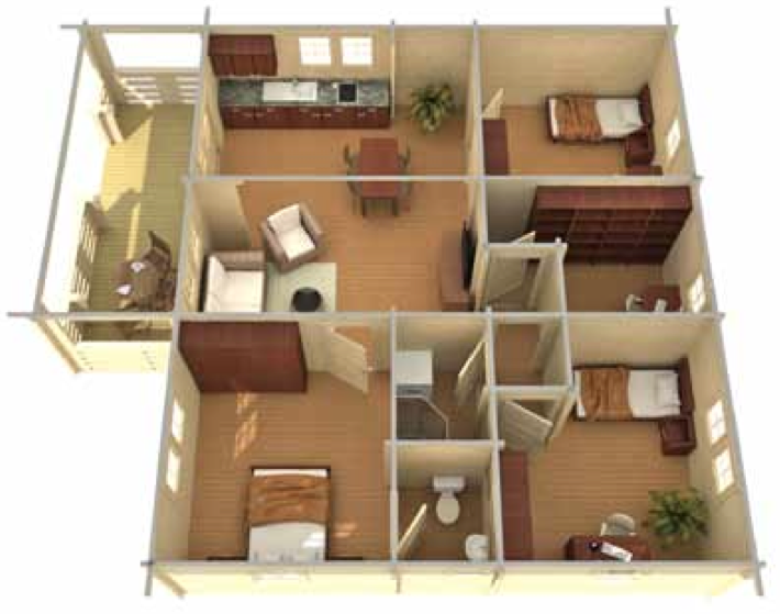 3d home plan 900 sq ft images for Home design 900 sq feet