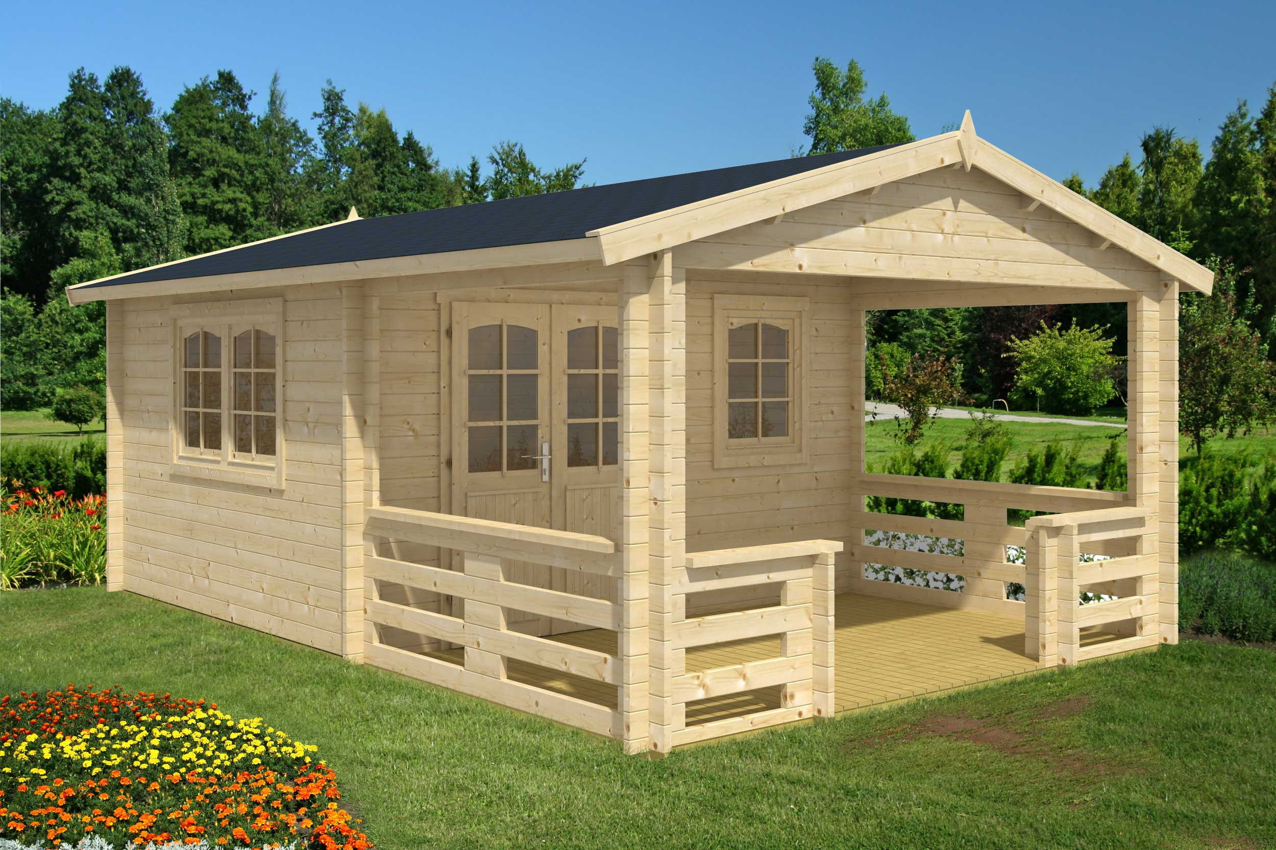 Wonderful image of Montana 140 sqft Prefab Log cabin kit with #1F6AAC color and 2500x1667 pixels
