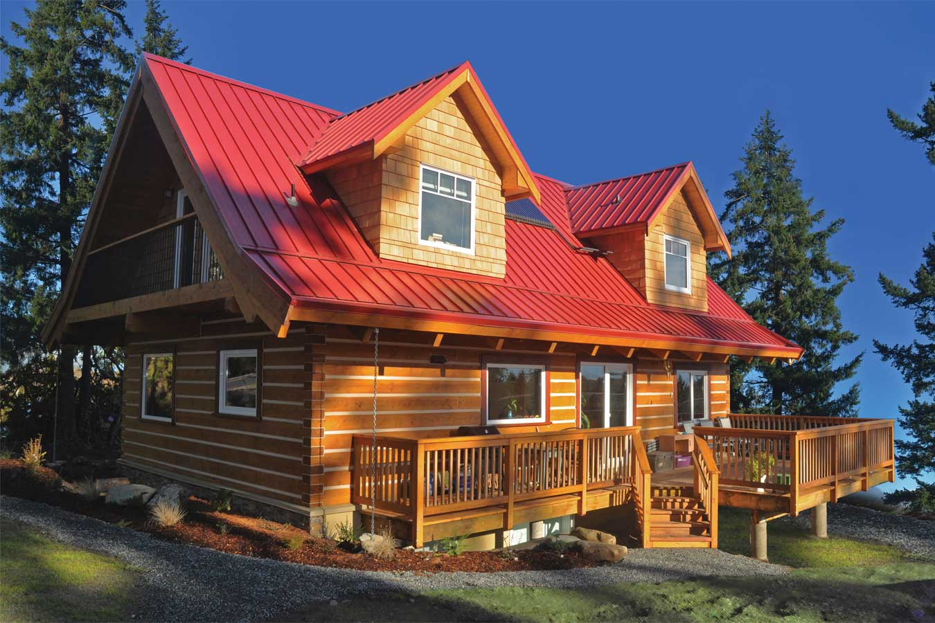 Model log home on Vancouver Island